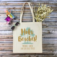 Planning a destination beach wedding?! Then checkout our adorable HOLA BEACHES tote bags...the perfect beach bag favor for your guests!!