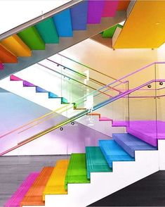 Making rainbow dreams come true, senior designer Ramzy Masri uses his passion for color coupled with his skills in photo manipulation to give architec. Kindergarten Interior, Kindergarten Design, Daycare Design, School Design, Design Maternelle, Decoration Creche, Rainbow Aesthetic, School Building, Stairway To Heaven