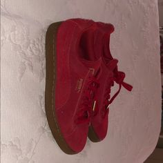 quality design 2f589 035dd Puma Shoes   Womens Red Suede Pumas Size 9.5   Color  Red   Size  9.5