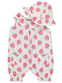 Strawberry Print Romper and Hat Set, read reviews and buy online at George. Shop from our latest range in Baby. Your little one will look adorable in this br...