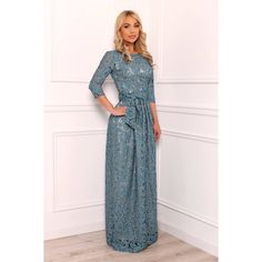 Gray Green Lace Maxi Dress 3/4 Sleeves ($120) ❤ liked on Polyvore featuring plus size women's fashion, plus size clothing, plus size dresses, dresses, green, women's clothing, cocktail dresses, green dress, green evening dress and evening maxi dresses