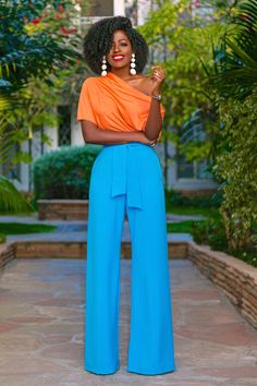 Style Pantry | Off Shoulder Top + Belted High Waist Pants