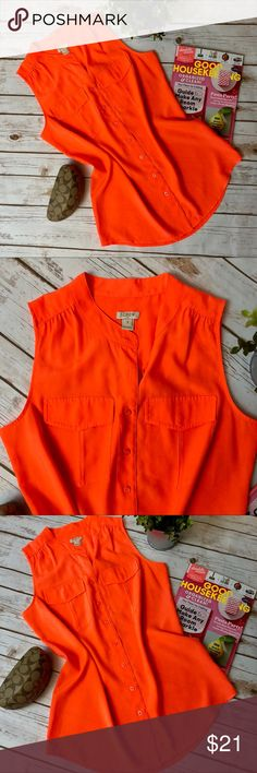 NWOT J. Crew Neon Orange Button Down Tank NWOT J. Crew Neon Orange Button Down Tank size 2  Pictures on do this shirt justice. I love it!!!!! It's so fun and bright, but my girls pull on the buttons and I'm not trying to give free a free show. J. Crew Tops Tank Tops