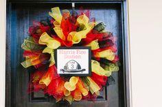 Wreath at a Firetruck Party #firetruck #partywreath