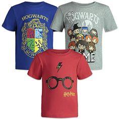 HARRY POTTER Hogwarts Toddler Boys Short Sleeve T-Shirts 3 Pack Blue/Grey/Red Harry Potter Sweater, Harry Potter Shop, Harry Potter Glasses, Harry Potter Items, Harry Potter Shirts, Harry Potter Outfits, Harry Potter Hogwarts, Harry Potter Presents, Harry Potter Activities