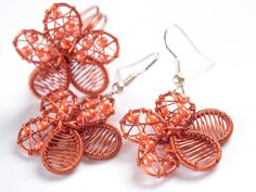 orange flowers wire jewelry wedding orange jewelry by TaniHandmade