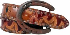 "Description 2"" boot leather belt with large and small antique engraved dots alternated along the edge and finished with a horseshoe buckle...."