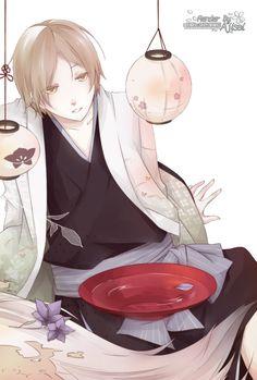 Render Animes et Manga - Renders Natsume Yuujinchou Natsume Takeshi Nyako Sensei Chat Yokai Lanterne Coupe Sake