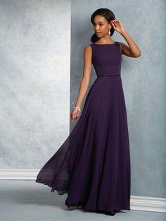 Floor length chiffon bridesmaid dress with a sleeveless bateau neckline 2159b63d0f7a