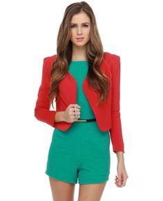 I like this red cropped blazer with the green