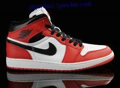 buy online c741d 9ce1e Air Jordan 1 Blanc Noir Rouge Chaussures New Jordans Shoes, Nike Air Jordans,  Cheap
