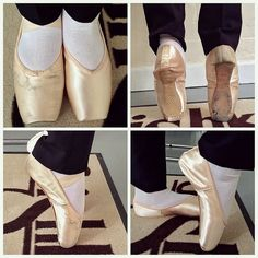 Pointe shoe fitting comparison. Dead ill fitting incorrect pointe shoes to supportive well fitting Grishko 2007 pointe shoes - pointe shoe fitting - pointe shoe fitter - Grishko stockist