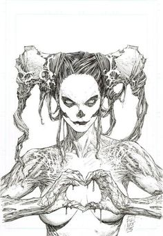 Macabre satire of the ubiquitous hand-heart sign. Illustration by Marc Silvestri. - Comic Art by Marc Silvestri I've got try an draw this. Wish me luck. Comic Book Artists, Comic Artist, Comic Books Art, Image Comics, Fantasy Kunst, Fantasy Art, Art Macabre, Drawing Sketches, Art Drawings