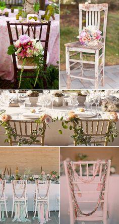 Sillas de boda decoradas con flores