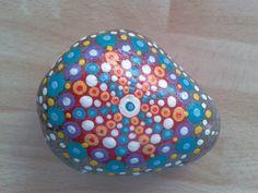 Multi colour Mandala Stone, intricately hand painted Cornish beach pebble, painted rock from Cornwall,  paperweight, meditation aid. by DriftAwayCornwall on Etsy