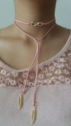 choker necklace in a beautiful pink