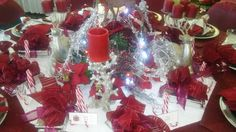 Christmas table at a fiundation event. Burgandy and silver