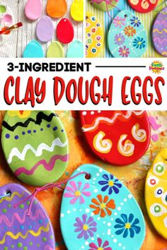 Who knew you could paint homemade clay dough? Get our recipe and make these to hang on your Easter tree or to give as gifts! Who knew you could paint homemade clay dough? Get our recipe and make these to hang on your Easter tree or to give as gifts! Poppy Craft For Kids, Clay Crafts For Kids, Easter Crafts For Kids, Easter Ideas, Preschool Crafts, Easy Crafts, Easter Eggs Kids, Easter Tree, Homemade Ornaments