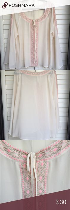 Plus Size Boho Peasant Top Light weight breezy boho peasant top. This pretty sheer top has embroidery detail. Easy to dress up or down. I purchased it oversized to wear with just a pink bralette and denim shorts. Tops Blouses