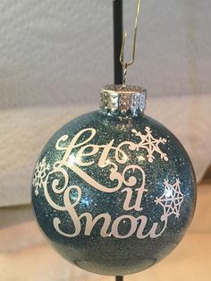 Let it Snow - Snowflake Ornament - Christmas ornament - Gift Exchange - Glitter Ornament - Glitter Ornament - Xmas Gift - Gift - Teal decor