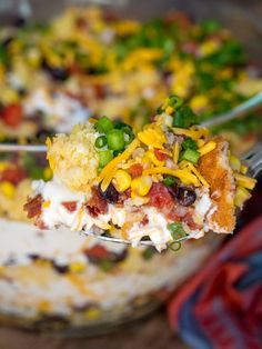 Cowboy Cornbread Trifle - Excellent Dip for a party Appetizer Recipes, Salad Recipes, Dinner Recipes, Appetizers, Potluck Recipes, Holiday Recipes, Side Dish Recipes, Side Dishes, Corn Recipes