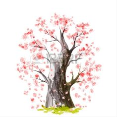 Illustration of Stylized Blooming Japanese cherry tree vector art, clipart and stock vectors. Cover Up Tattoos For Women, Japanese Cherry Tree, Baobab Tree, Cherry Blossom Tree, Wall Stickers Home Decor, Cellphone Wallpaper, Anime Style, Duvet Cover Sets, Vector Art
