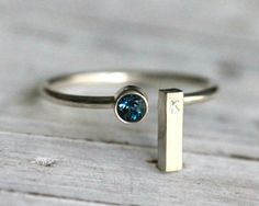 Gemstone Initial Ring- Adjustable Stacking Silver Ring W Genuine Blue Topaz Birthstone and Silver Rectangle inital Bar By Pale Fish NY