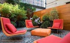 Captivating Garden Seating For Sparkling Outdoor Area : Colorful And Awesome Modern Garden Chairs With Cushions And Unique Table In A Modern Yard Contemporary Outdoor Furniture, Outdoor Garden Furniture, Garden Chairs, Outdoor Rooms, Outdoor Living, Outdoor Decor, Terrace Garden, Modern Furniture, Pink Furniture