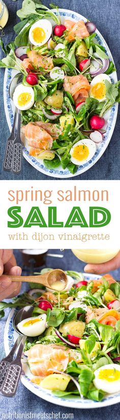 Spring Salmon Salad! A fresh, healthy and delicious salad that's perfect for spring and summer picnics! Get the recipe at nutritionistmeetschef.com