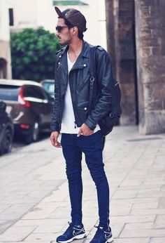 leather jacket + simple tshirt + narrow jeans + running shoes