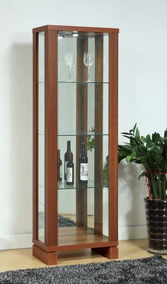 Smart Home Wine Bar Edition Curio Display Features An All Around Finish In Light Walnut