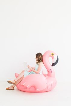 summer necessities: a flamingo float
