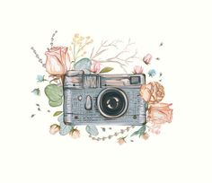 Retro photocamera with flowers flower vintage retro watercolor photocamera photo camera watercolour cute spring wedding rose clipart clip art floral graphics peach wreath frame pattern leaf branch aquarelle vector psd eps summer element border handdrawn Mode Poster, Camera Art, Camera Drawing, Image Hd, Instagram Highlight Icons, Creative Sketches, Pencil Illustration, Watercolor And Ink, Art Inspo