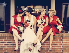 awesomely unique bridesmaid dresses and fun shoes.. love the vibe