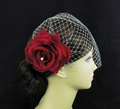 Birdcage veil with Red Rose flower bridal fascinator,Swarovski crystals, Wedding Bridal