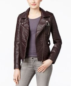 The edgy but gorgeous Rachel Rachel Roy faux leather motorcycle jacket can be worn with everything, from a white T-shirt and ripped skinnies to a pretty party dress! Authentic cycle styling wins all t