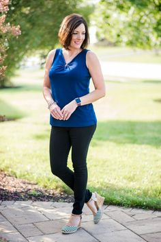 Staying in Shape with Style: Susan Graver Liquid Knit Tank with black skinny pants and Fitbit Blaze Fitness Watch
