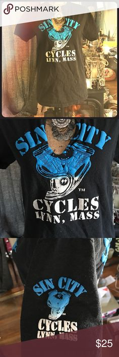 Lynn Lynn you never come out the way you went in😈 For all you motorcycle riders and lovers here is a local T-shirt company that is a huge hit in the Boston area! EUC pre ❤️ 'd and Sin City Cycles tee! White and blue flames 🔥 detail on front back and each short sleeve! Don't miss out this one will go quickly totally rad shirt! Men's cotton washed and dryer size small. Fits woman's size S-M.🤘🏼🔥💋 SIN CITY MOTORCYCLES Tops Tees - Short Sleeve