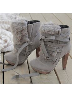 Chic Gray Nubuck Leather Lace-Up High Heel Boot - Shoes - Schuhe Lace Up High Heels, High Heel Boots, Heeled Boots, Bootie Boots, Ankle Boots, Hot Shoes, Crazy Shoes, Me Too Shoes, Shoes Heels