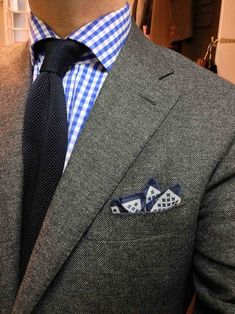 gray x blue suiting