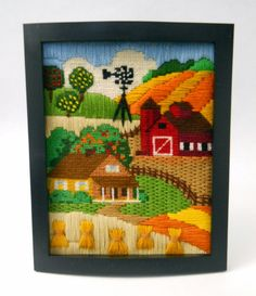 Completed Needlework Farm Windmill Orchard Red Barn Framed 8 x 10 Special Stitch