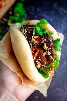 Gua Bao - fluffy Bao buns stuffed with tender sticky pork belly. I'll show you how to make it from scratch, in my step-by-step recipe. Pork Belly Bao, Pork Belly Slices, Pork Recipes, Asian Recipes, Cooking Recipes, Ethnic Recipes, Gua Bao, Sticky Pork, Slow Cooked Pork