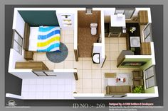 tiny homes | 3D isometric views of small house plans | Indian Home Decor