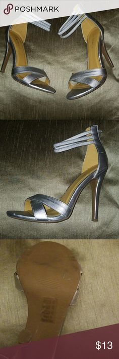 Shoe Republic  Silver Stilletto Strapy Heels Shoe Republic Silver stilletto heels with three straps across ankles. Spice up any outfit this holiday season! Preloved condition. Shoe Republic LA Shoes Heels