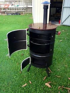 Homemade 55 Gallon Drum Smoker 51 Enchanting Ideas With Full Image For Double 55 Gallon Drum Smoker, Ugly Drum Smoker, Diy Smoker, Homemade Smoker, Outdoor Oven, Outdoor Cooking, Bar Kunst, Diy Wood Stove, Barrel Smoker