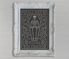 PDF All Are Equal in Death Halloween cross stitch pattern by Dark Crosses at thecottageneedle.com tombstone skeleton October embroidery by thecottageneedle