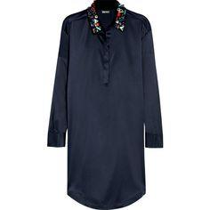 DKNY - Embellished Stretch-silk Satin Shirt Dress featuring polyvore, women's fashion, clothing, dresses, midnight blue, embelished dress, shirt dress, t-shirt dresses, tailored shirt dress and blue glitter dress