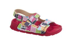 Birki's Aruba - Kids Points Patchwork Birko-Flor Puddle stomping and other water activities are no problem for this durable, waterproof sandal. Kids will love the bright colors, too!  The contoured footbed provides good arch support and the soles are slip-resistant for stability on wet surfaces. #birkenstock #birkenstockexpress.com  $29