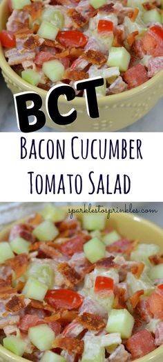 Get the flavors of a classic BLT but in the form of a salad with this BCT Bacon Cucumber Tomato Salad. Take a lighter road with this refreshing salad. BCT Bacon Cucumber Tomato Salad - BCT Salad - Bacon, Cucumber, and Tomato Salad Cucumber Tomato Salad, Cucumber Recipes, Salad Recipes, Recipes With Cucumbers, Cucumber Ideas, Broccoli Salad, Juice Recipes, Vegetable Salad, Low Carb Recipes