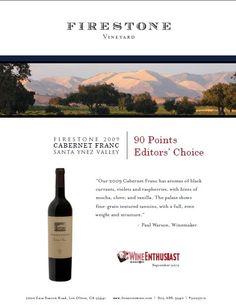 Firestone 2009 Cabernet Franc. 90 Points Editors Choice Wine Enthusiast. Wine Accolade.